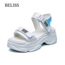 BELISS Platform Sandals Women 2019 Summer Womens Chunky Shoes Fashion Beach Sandal Casual Woman Flat Hook Loop S46