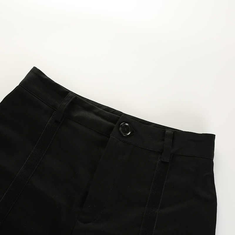Kobiety Sexy Skinny gorące spodenki stałe połowie talii Hollow pasek moda czarny krótkie spodnie trzy metry mieszanki bawełny 914-635