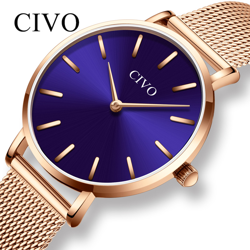 CIVO mode luxe dames montre étanche femmes Quartz montres femmes Rose or acier maille sangle robe horloge montre-bracelet