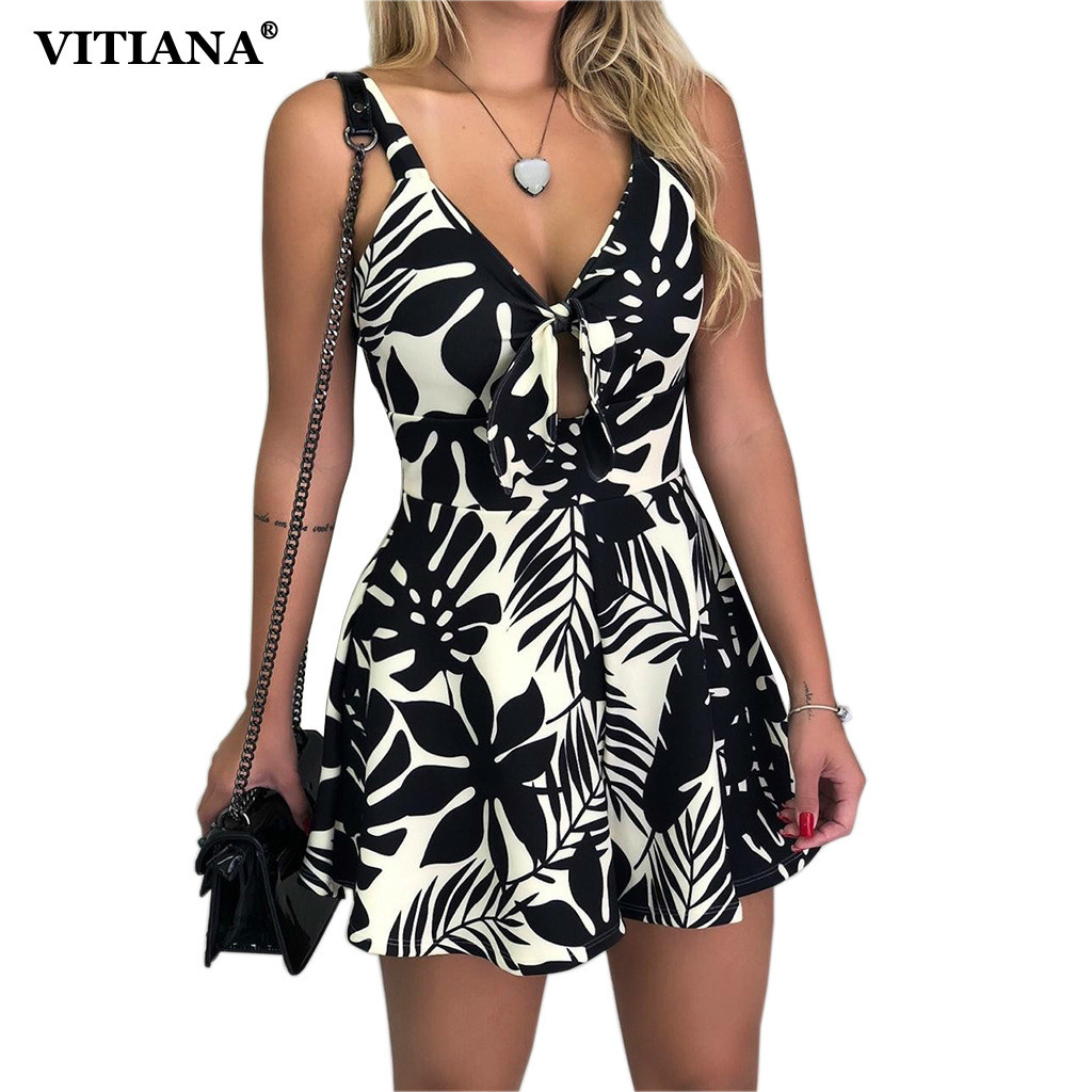 VITIANA Women Beach Rompers Female 2019 Summer Lace Up Print Floral Casual Short Jumpsuit Sleeveless Bodycon Sexy Party Playsuit Платье