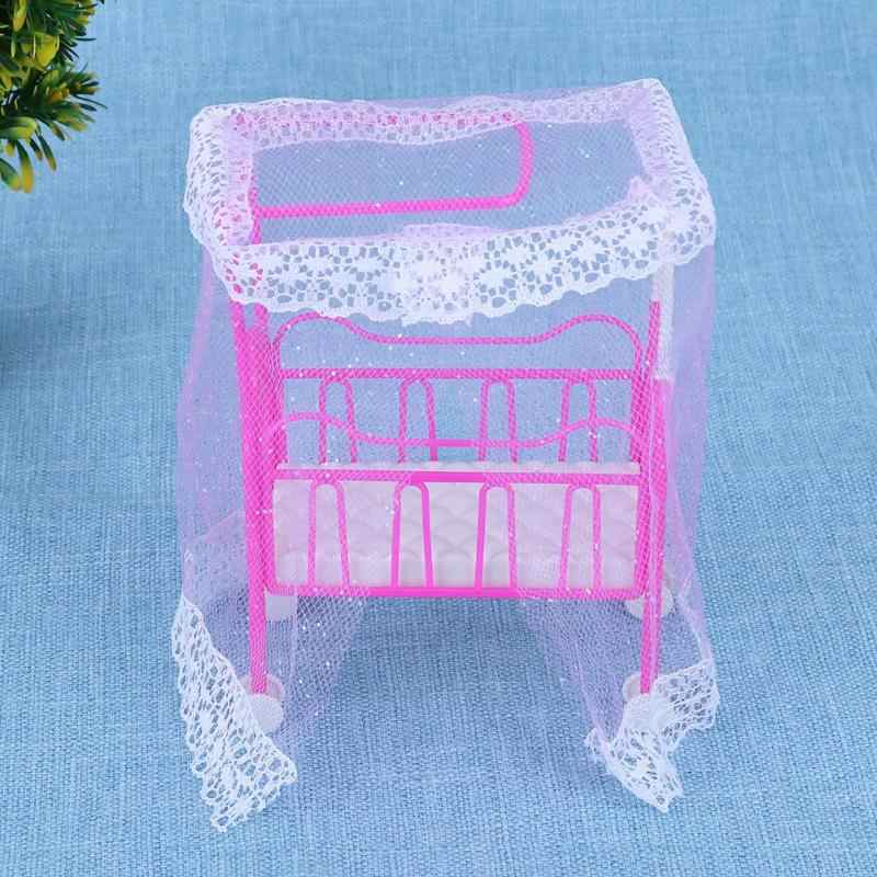 Baby Bed for Small Kelly Dolls for baby with Mosquito Net Girls Toy Super Cute Bed baby Doll Accessories (Random Color)