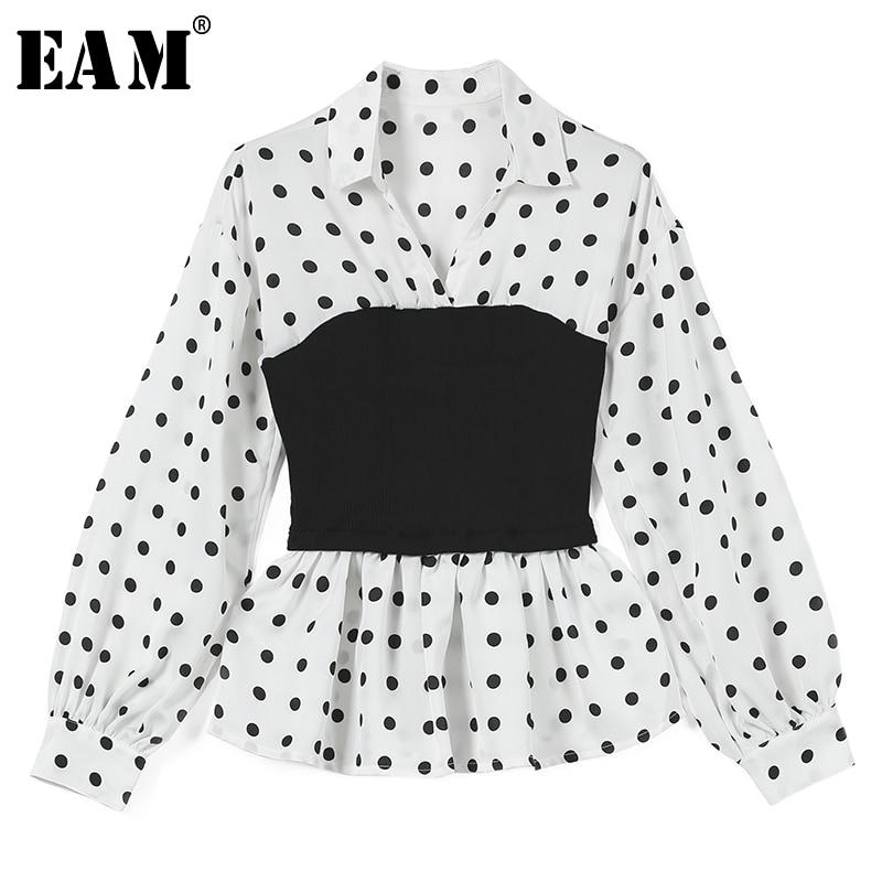 EAM 2019 New Spring Summer Lapel Long Sleeve Black Hit Color Dot Printed Loose Fold