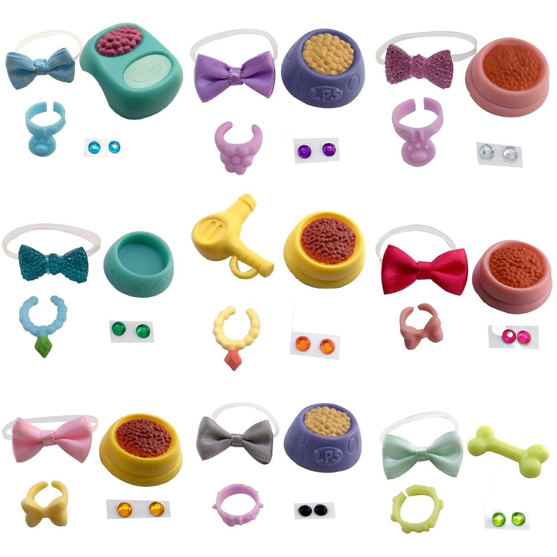 Cartoon Animals Toys Accessories Collar Food 4 Pcs For Cartoon Animals Dog Or Cat's Accessories 1 Set