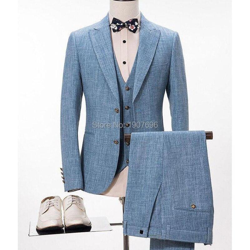 Erkek Kıyafeti'ten T. Elbise'de Açık Gökyüzü Mavi Keten Takım Elbise Erkekler için Düğün Balo Tuxedos 3 Parça Doruğa Yaka Slim Fit Erkek Damat Takım Elbise Ceket pantolon Yelek'da  Grup 1