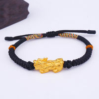 Solid 24k Yellow Gold Bracelet Bless Pixiu Bless Black Cord Knitted Bracelet