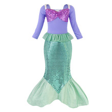 AmzBarley Little Girls Mermaid Princess Ariel Costume Sequins Halloween Cosplay Party Dress Up kids Long-sleeves Autumn Clothes
