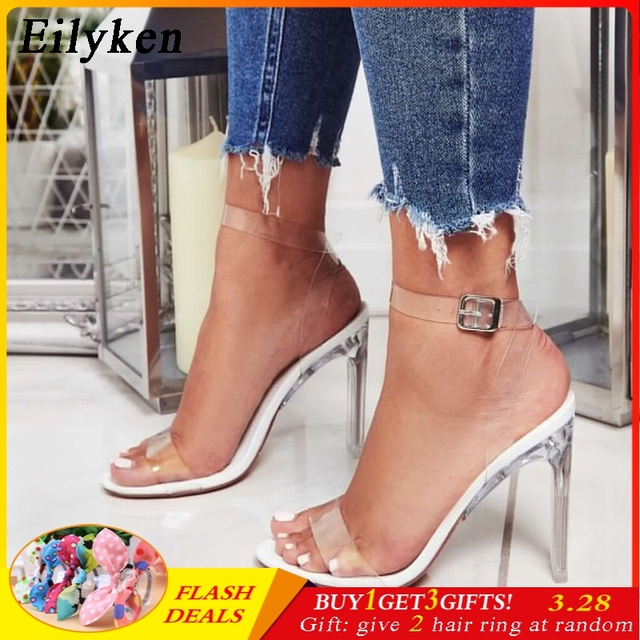7231848155b US $17.88 45% OFF|Eilyken 2019 PVC Jelly Sandals Crystal Open Toed High  Heels Buckle Strap Women Transparent Heel Sandals Sexy Pumps 11CM-in High  ...