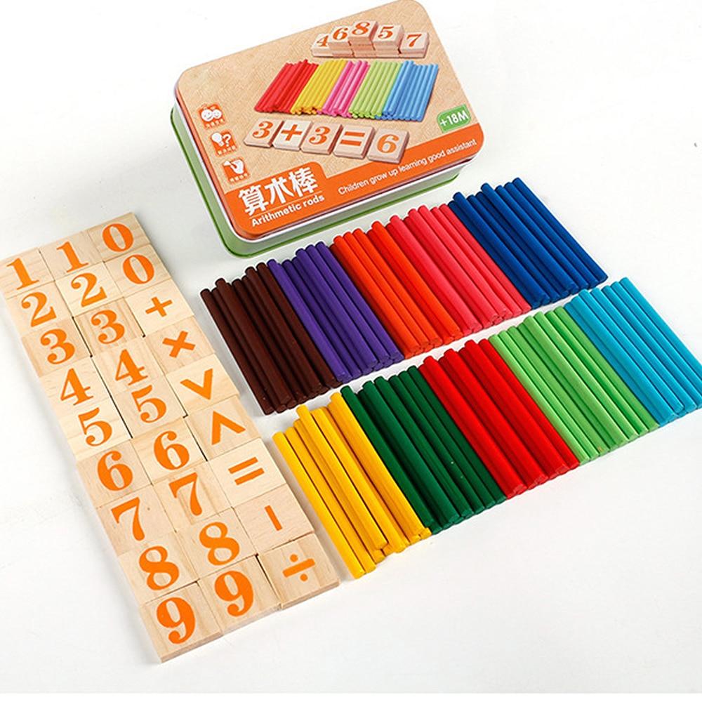 Подсчета деревянные блоки арифметики стержень подсчета стержень жестяная коробка для учебных пособий Монтессори обучения детей Сделай Сам интересный игрушка математика