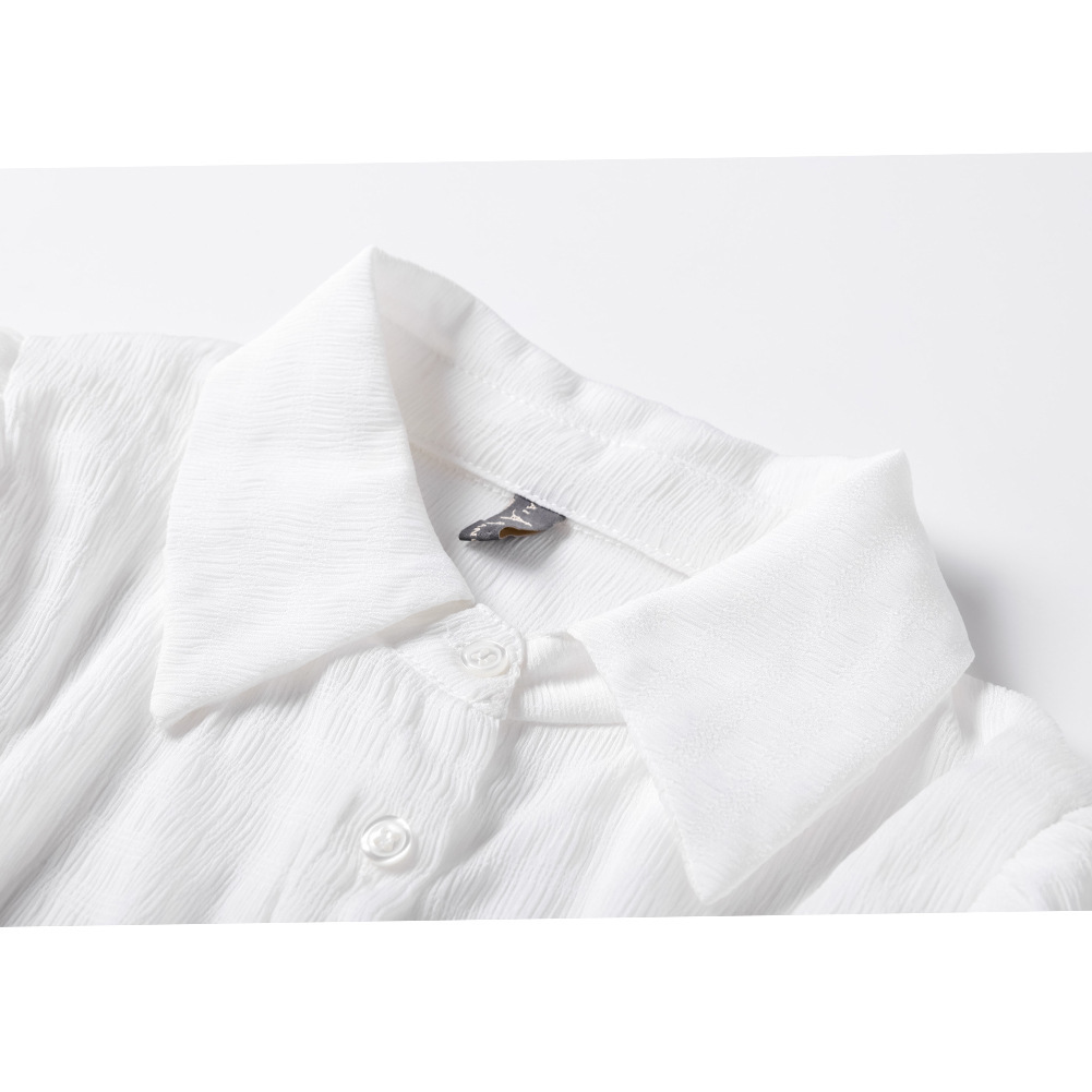 Modello black Eleganti Manicotto Bordo Estate White Lunghi abito Camicia Di Colore Loto Donne Chalaza Chiffon Vestiti Del Nuovo Delle Tuta Foglia Camicette blue Modo HED2I9