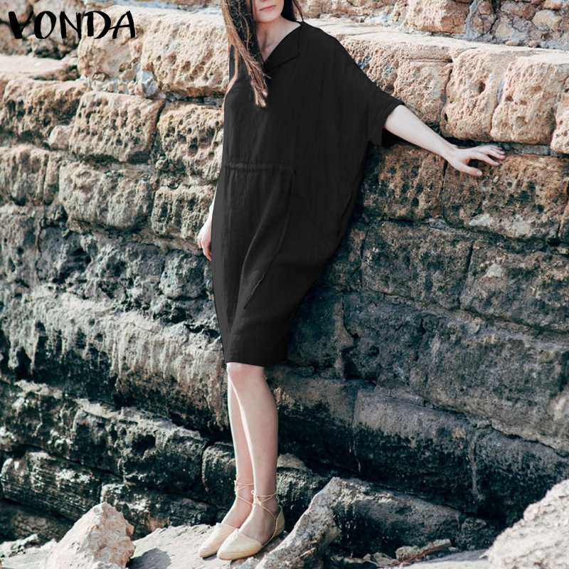 Women's Clothing Vonda Women Casual Dress 2019 Autumn Spring Half Batwing Sleeve Solid Loose Dresses Female Knee-length Vestidos Plus Size 5xl Invigorating Blood Circulation And Stopping Pains