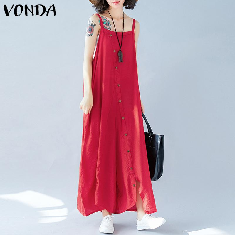VONDA Rompers Womens   Jumpsuit   2019 Summer Sexy Wide Leg Pants Casual Sleeveless Backless Buttons Playsuits Plus Size Overalls