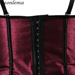 Image 5 - Beonlema السيدات مثير بوستير القوطية النبيذ الأحمر Overbust جلد يصل مشد الجسم النمذجة حزام Korset المرأة زائد حجم مثير Clubwear