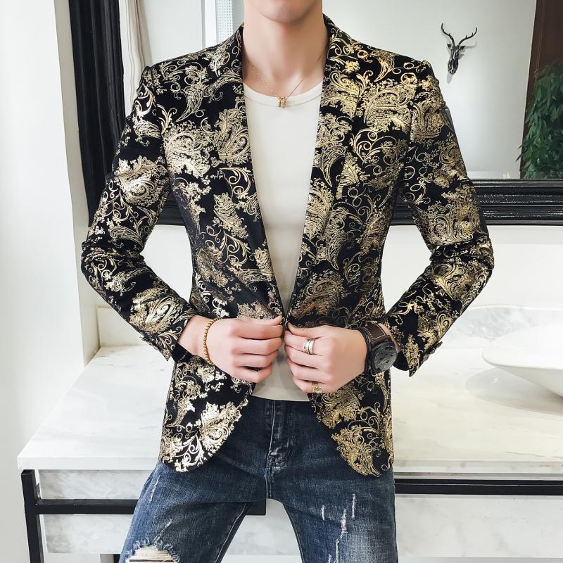Spring 2019 New Blazer Men Mens Floral Blazer Jacket Slim Fit Casual Streetwear Men Blazer Night Club Prom Tuxedo Formal Wear