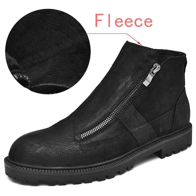 Marten Men s Boots genuine leather boots men snow boots chelsea shoes fur  fleece keep warm Doc 909546d2200d