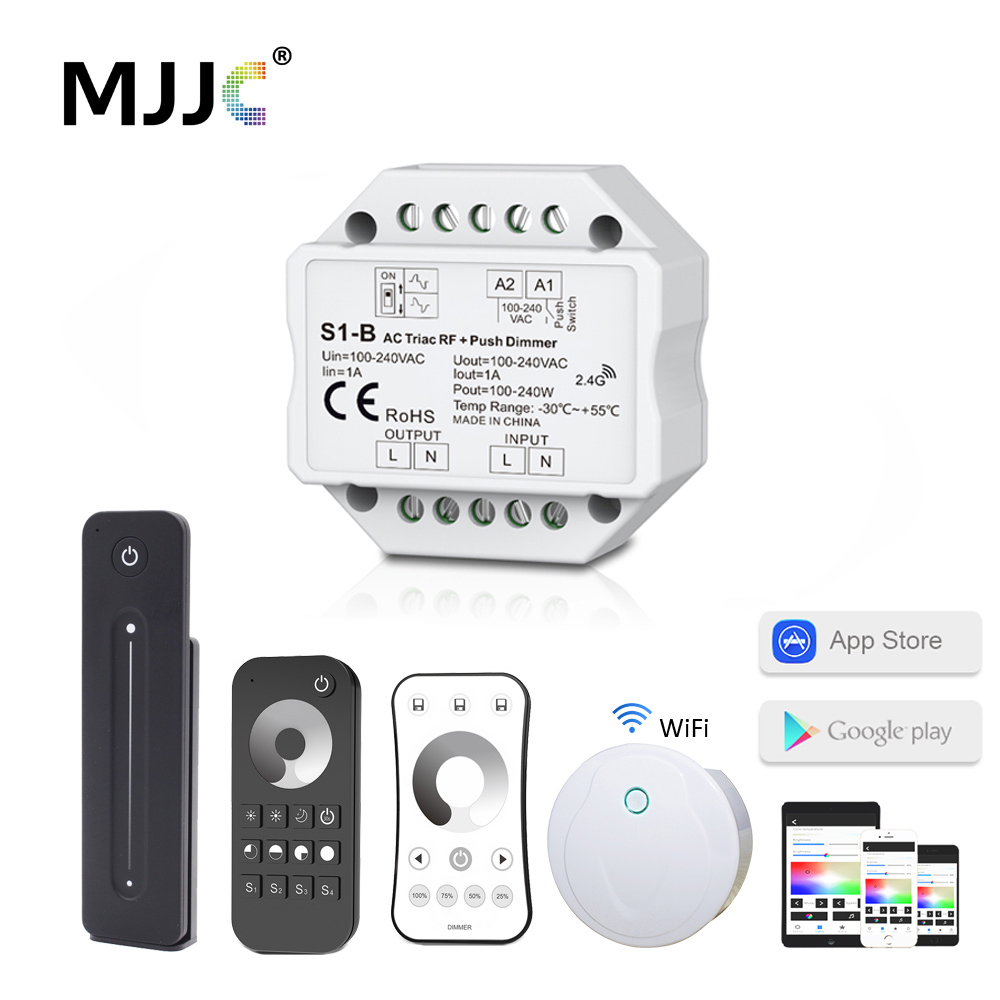 <font><b>LED</b></font> <font><b>Dimmer</b></font> 220V AC Triac <font><b>Dimmer</b></font> 230V 110V Wireless RF Dimmable Push Switch with 2.4G <font><b>Remote</b></font> <font><b>Dimmer</b></font> for <font><b>LED</b></font> Lamp 220V Bulb S1-B image