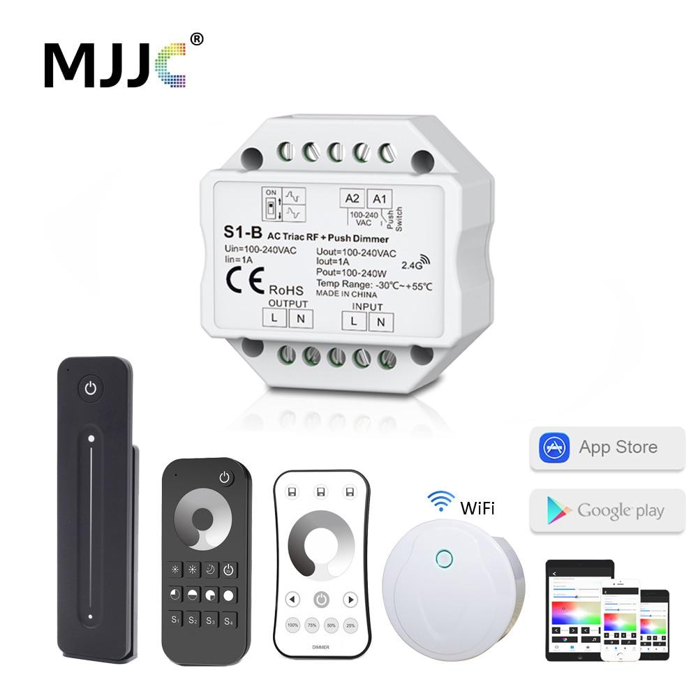 LED 調光器 220V AC トライアック調光器 230V 110V ワイヤレス Rf 調光可能なプッシュスイッチと 2.4 グラムリモート led ランプのための 220V 電球 S1-B