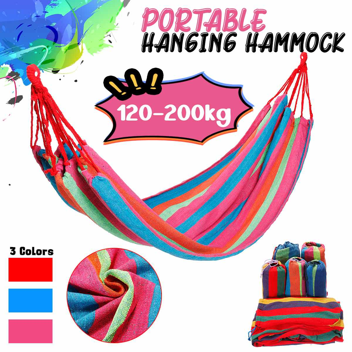 1/2 Person Portable Rope Hanging Hammock Swing Bed Camping Hiking Travel Outdoor Sleep Great Tolerance Lightweight Canvas1/2 Person Portable Rope Hanging Hammock Swing Bed Camping Hiking Travel Outdoor Sleep Great Tolerance Lightweight Canvas