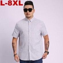купить 8x big size Summer New Men's Shirt Brand Luxury Men Cotton Short Sleeves Dress Shirt Turn-down Collar Cardigan Shirt Men Clothes дешево