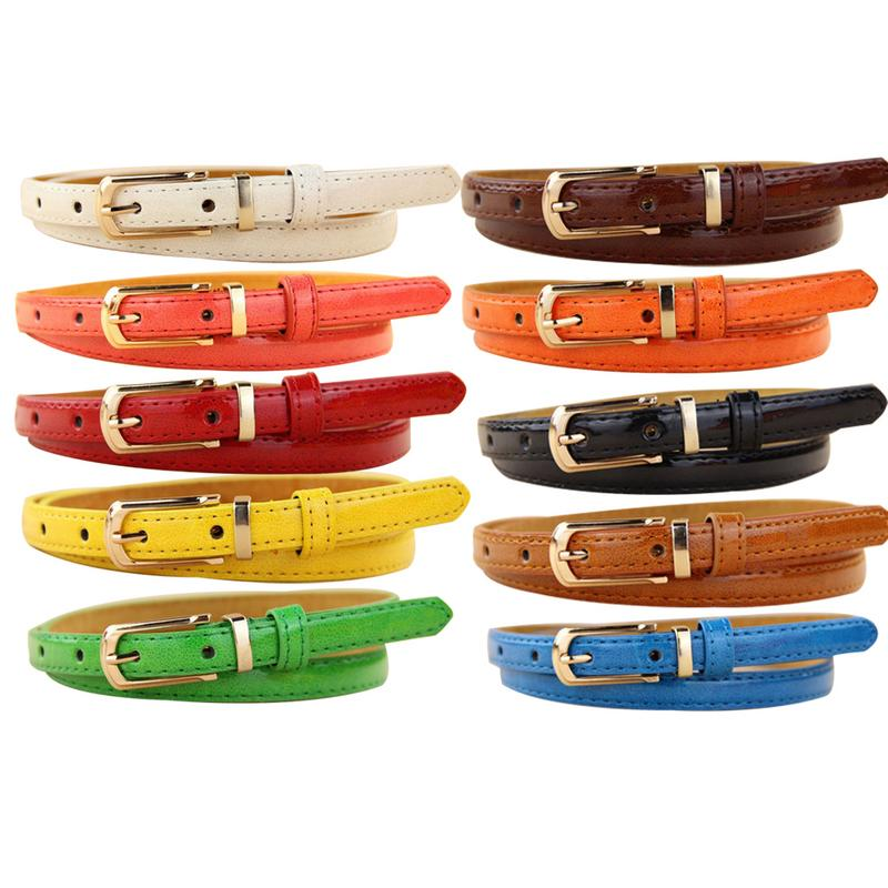 Korean Version Leather Candy Color Thin   Belt   Decorative Small Female   Belt   Fashion Cute