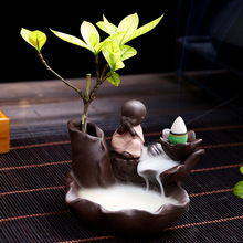 10Pcs Incense Cones + 1Pc Burner The Little Monk Censer Ceramic Waterfall Backflow Incense Burner Holder Home Decor  insence