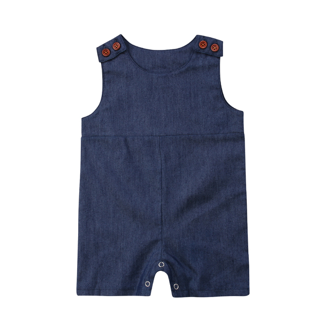 107b25c32 2019 Summer Newborn Toddler Baby Girl Boy Denim Jumpsuit Rompers Causal  Sleeveless Short Playsuit Infant Baby