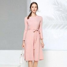 Knitted Dress woman Autumn And Winter New stylish long sleeve high waist overknee sweater dress rendering knitted dresses women