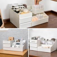 Plastic Cosmetic Drawer Makeup Storage Box Brush Holder Desktop Skincare Organizer Case Rack Jewelry Cosmetic Storage Boxes