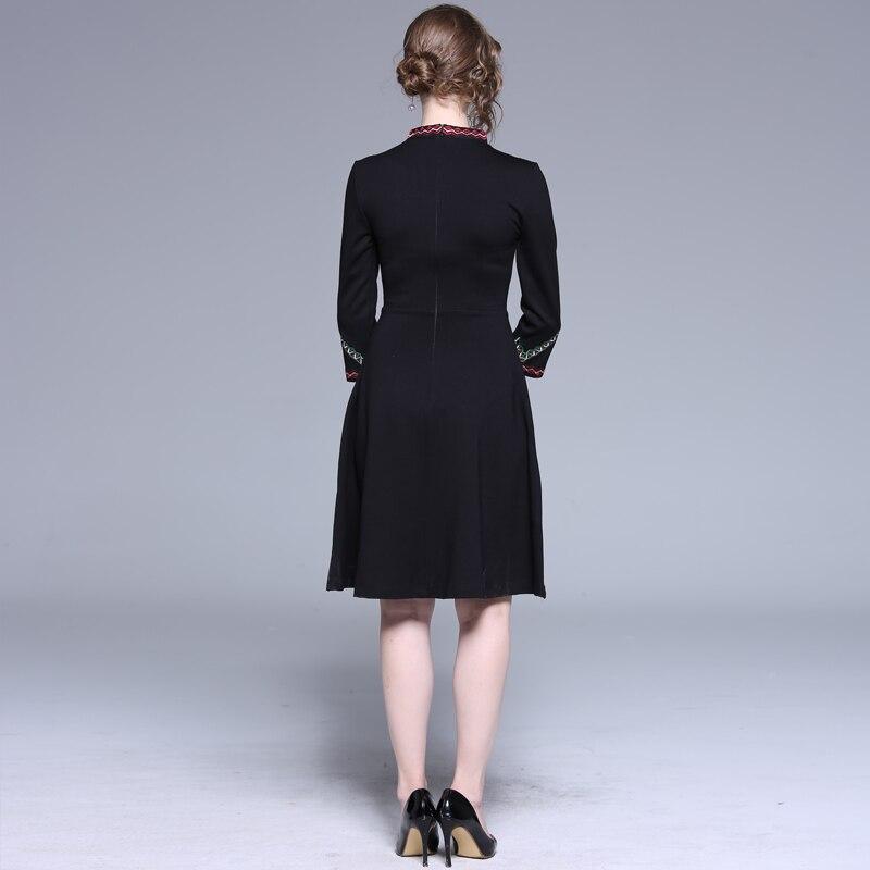 Ricamo In Di Lunga Indossare Legame Una Vestito Del Manica Abiti Delle Vestiti Floreale Mini Telai Donne Black Elegante Dell'annata Ufficio Linea Arco Femminile qwt7T