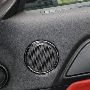 Image 1 - עבור פורד מוסטנג 2015 2016 2017 2pcs סיבי פחמן רכב פנים דלת אודיו רמקול טבעת רצועת תפאורה כיסוי