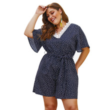 Plus Size Women Causal Summer Backless Jumpsuit Sexy Mini Polka Dot Hollow Out V Neck Rompers Elegant Black High Waist Overalls