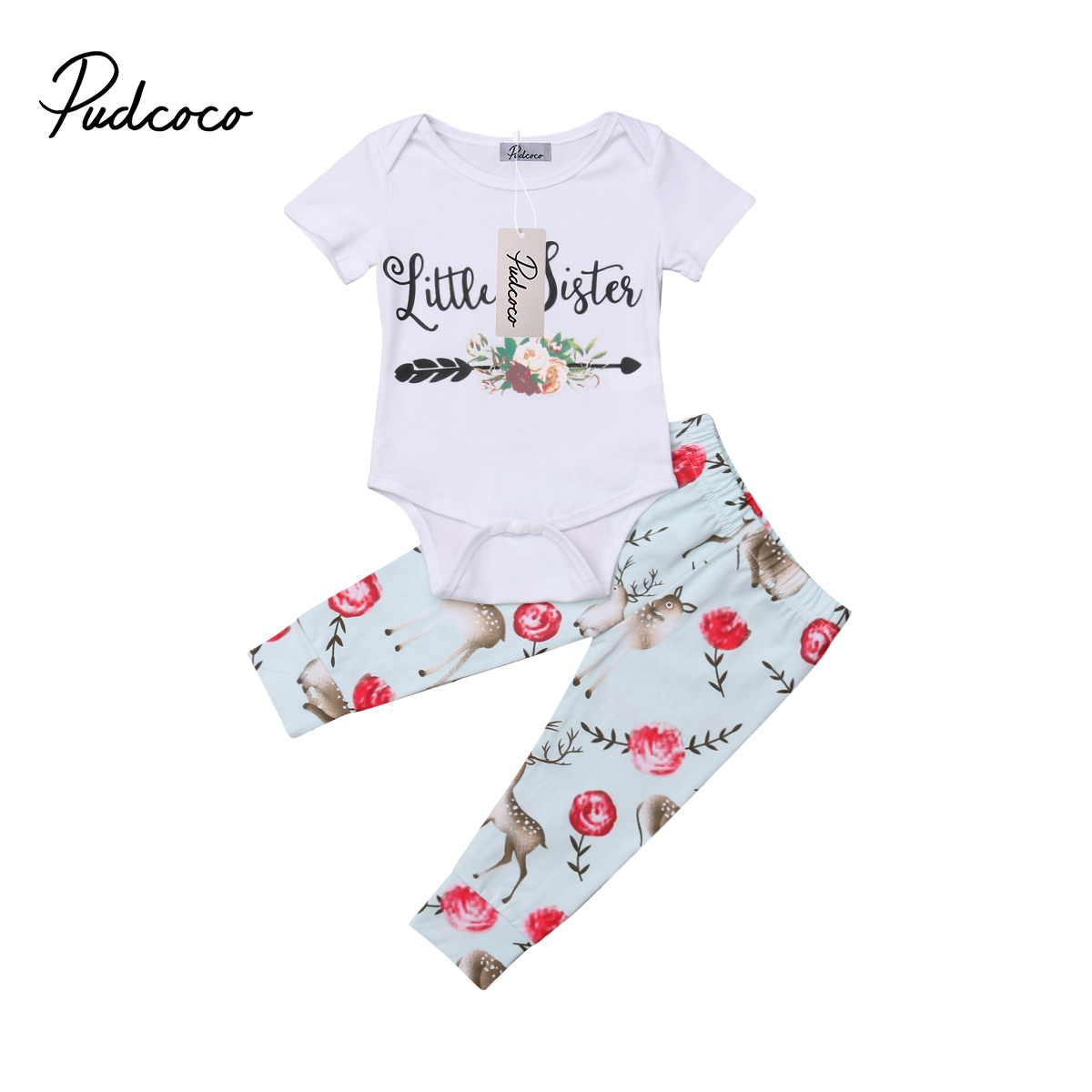 Family sister matching clothes set Baby Girls Little Big Sister Deer Romper Top Pant Outfits for Newborn Children Kid Clothing
