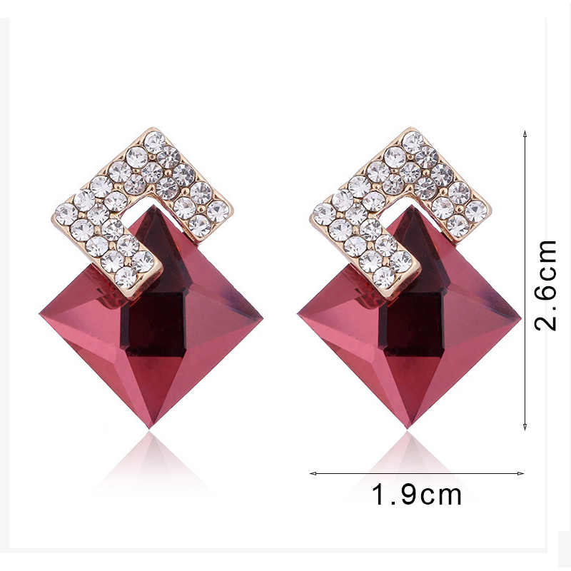 Fashion big ball crystal stud earrings red blue crystal stud earrings for women silver cubic zirconia earrings wedding Jewelry