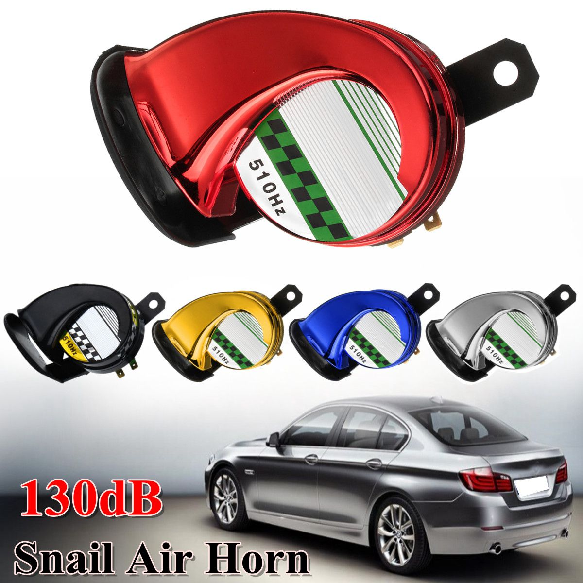 Universal 12V DC 130db Snail Air Motorcycle Horn Siren Loud for Car Truck Motorbike Waterproof-in Multi-tone & Claxon Horns from Automobiles & Motorcycles
