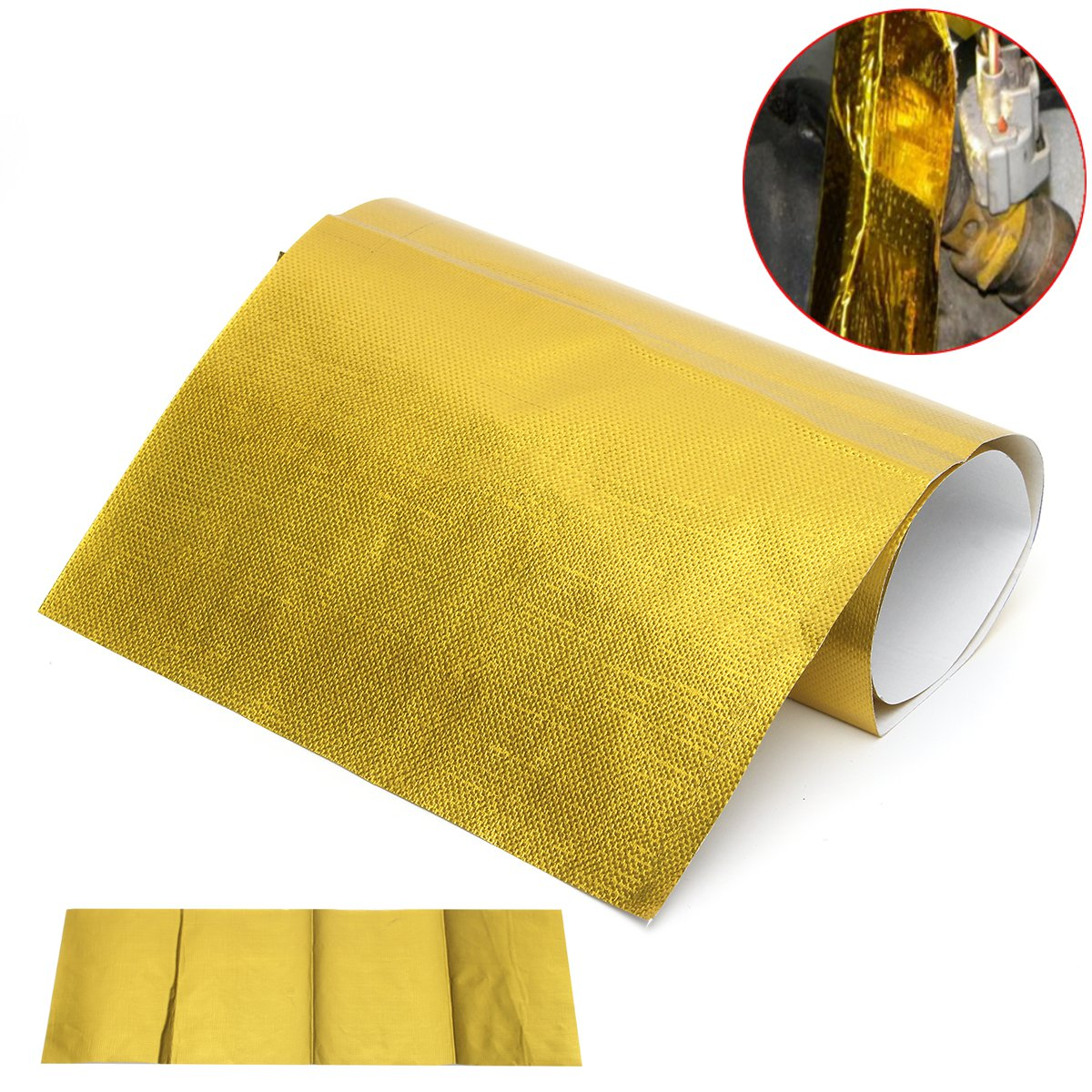 20x60cm Self Adhesive Reflective Gold High Temperature Exhaust Heat Shield Wrap Tape Insulation Stickers Car Styling