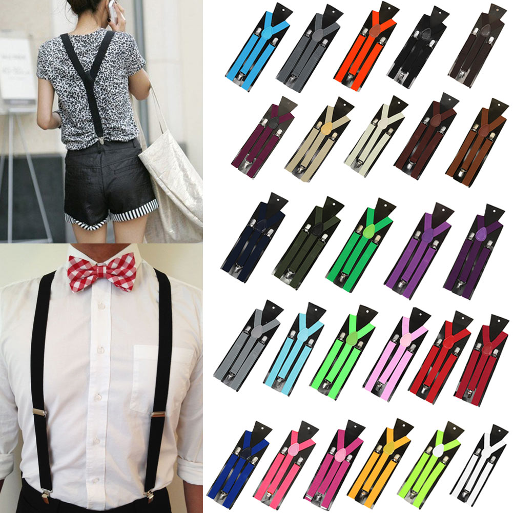Adjustable Elasticated Adult Suspender Straps Unisex Women Men Y Shape Elastic Clip-on Suspenders 3 Clip Pants Braces Colorful