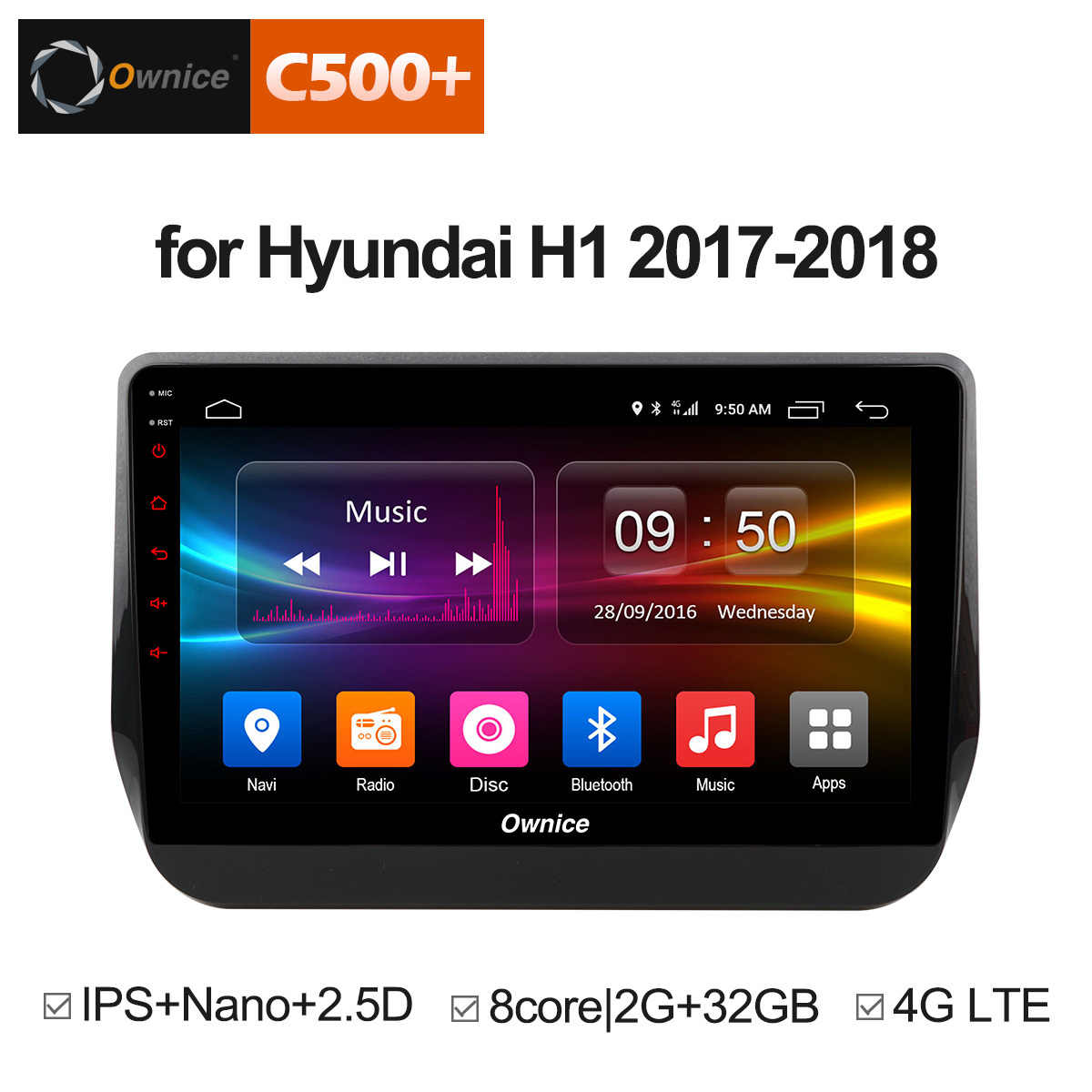 Ownice C500 + G10 9 inch Android 8.1 Autoradio DVD Voor Hyundai H1 Grand Starex 2017 2018 2 GB + 32 GB DVD GPS Wifi 4G LTE Octa Core