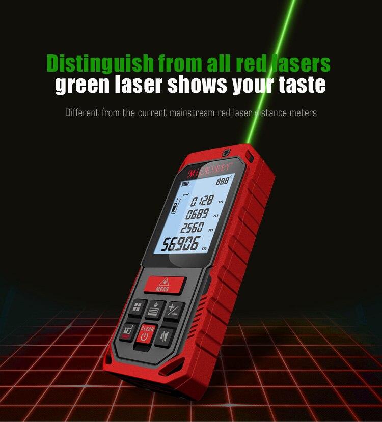Mileseey S8G 100M Green Laser Rangefinder Digital Laser Distance Meter Laser Tape Measure Diastimeter Tool