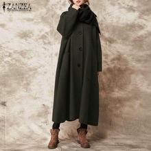 Coat Cardigans Long-Jackets Plus-Size Women Outwear Buttons Vintage Autumn Casual ZANZEA