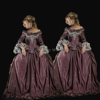 A medida! real Eras púrpura tafetán Duquesa 18th teatro gótico renacimiento medieval recreación vestido vestidos victorianos HL-351