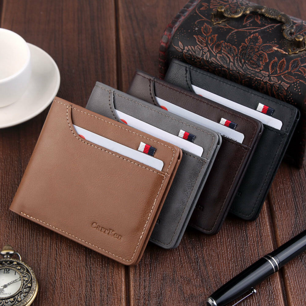 Fashion Men's Wallet Business Classic Solid Color Double Fold Zipperless Leather Card Package
