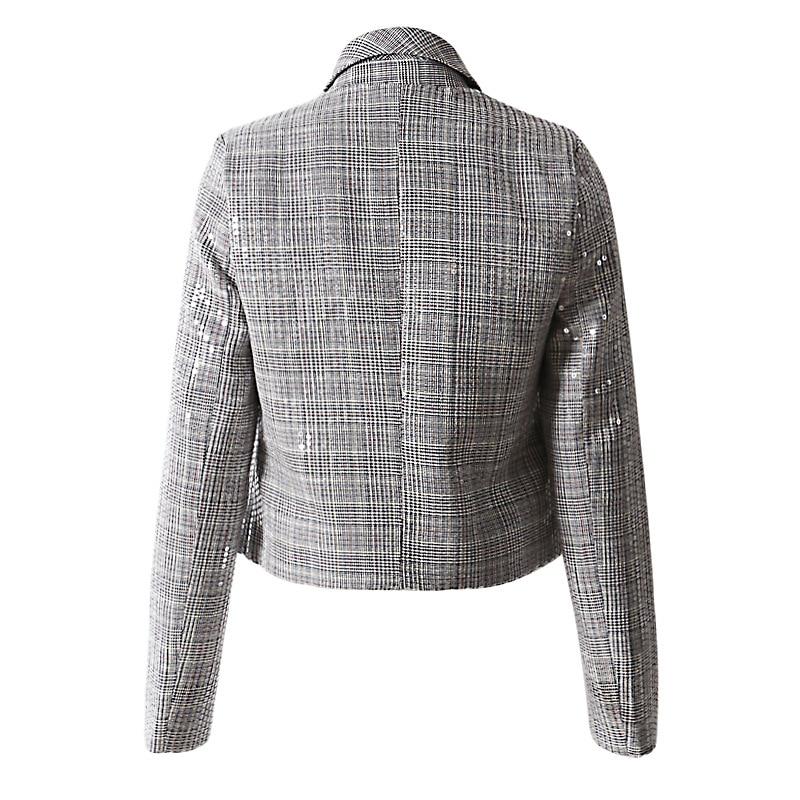 Longues Transparent Mode Manteau Hiver Printemps Nouveau eam Plaid Revers Marée Gris Coat 2019 Loose Brillant Lâche Veste Manches Femmes Jl994 De nqzYaafw