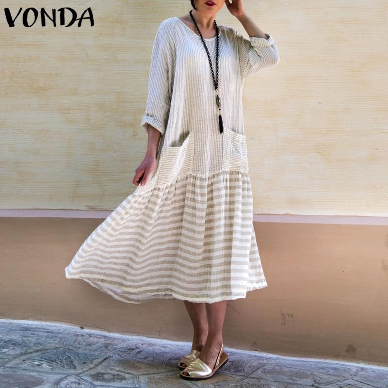 VONDA Dress For Women 2019 Vintage Bohemian Long Dress Casual Long Sleeve Stripe Patchwork Loose Party Vestidos Female Oversized Платье
