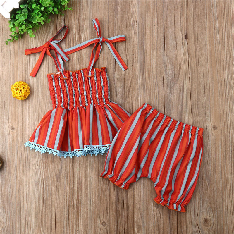 PUDCOCO 2Pcs Newborn Baby Girls Rainbow Stripes Tops Dress Shorts Pants Outfits Clothes in Clothing Sets from Mother Kids