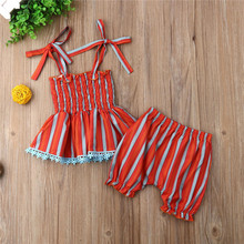 PUDCOCO 2Pcs Newborn Baby Girls Rainbow Stripes Tops Dress Shorts Pants Outfits Clothes