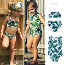 Cute Leaves Print Bikini Kids Baby Girls Swimwear Swimsuit Bathing Suit Beachwear for Kids Baby Girls Biquini Children Swimwear