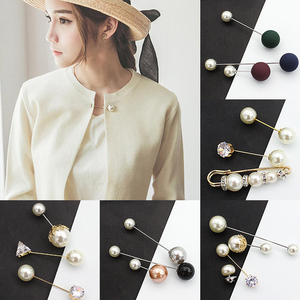 Simple Fixed Strap Sweater Brooch 3/5pcs New Charm Crystal Women Ladies Pearl Clip Chain Fashion Cardigan Safety Pin Suit(China)