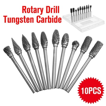 Carbide Burr Bits | Easy Carry Practical 10Pcs Tungsten Steel Carbide Burr Rotary Drill Bits Tools Cutter Files Set Shank Woodworking Metalworking