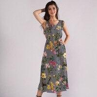 2019 Summer Explosions Round Neck Sleeveless Waist Embroidered Flower Print Long Dress