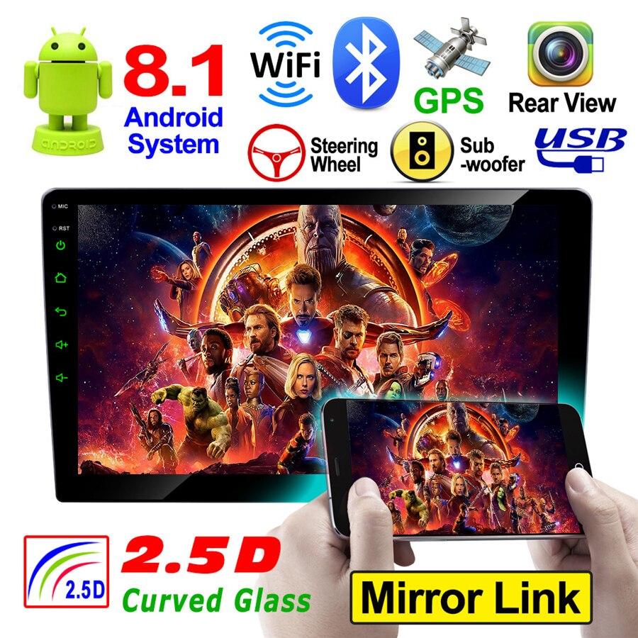9 pouces Android 8.1 Quad Core 16 GB ROM lecteur multimédia de voiture AM FM GPS Wifi caméra arrière