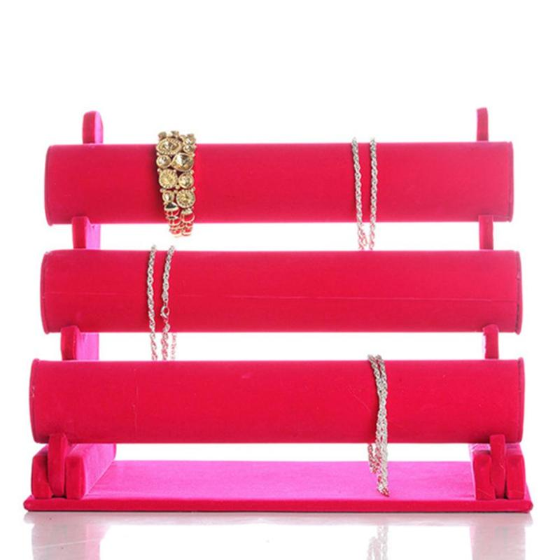 Black Velvet 3 Tier Jewelry Bracelet Watch Bangle Display Holder Stand Showcase T bar Storage Necklace Bangle Organizer in Jewelry Packaging Display from Jewelry Accessories
